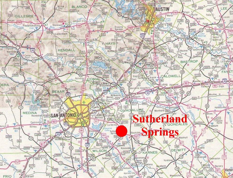 Map Sutherland Springs Texas Shooting