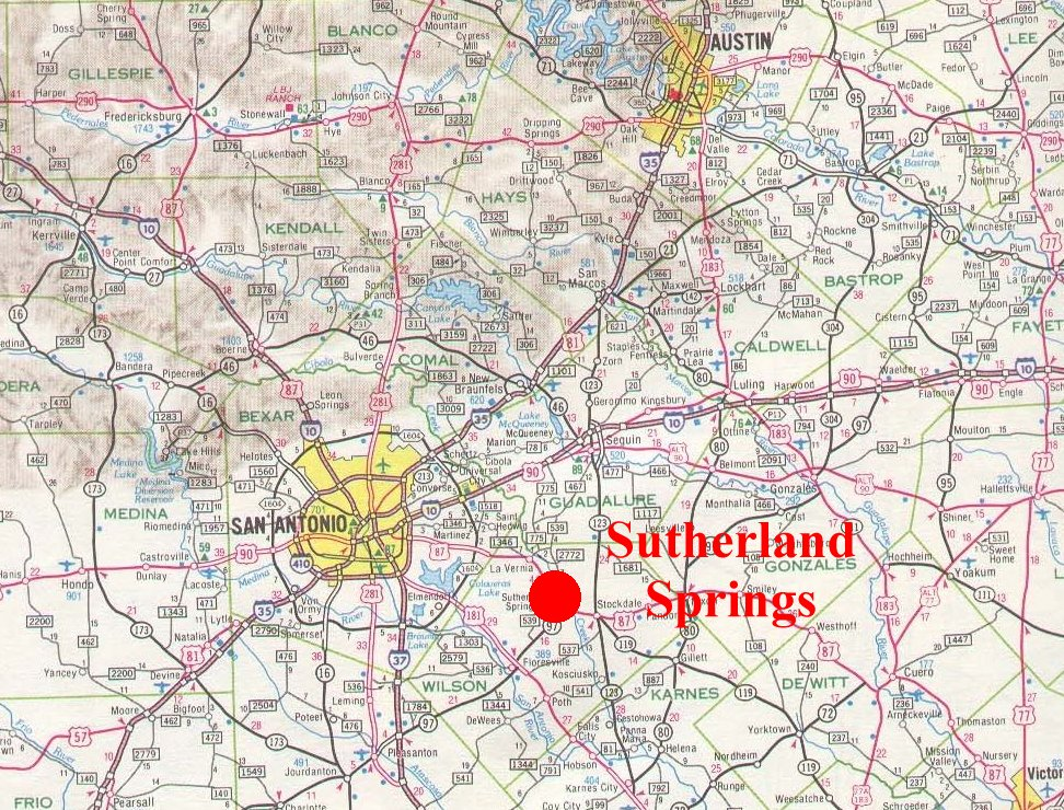 Map Sutherland Springs Texas Shooting